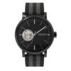 Minimalist Black Dial Automatic Watch Open Heart