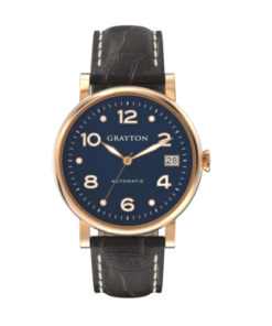 Women's Automatic Watch Blue Dial & Brown Crocodile Embossed Leather
